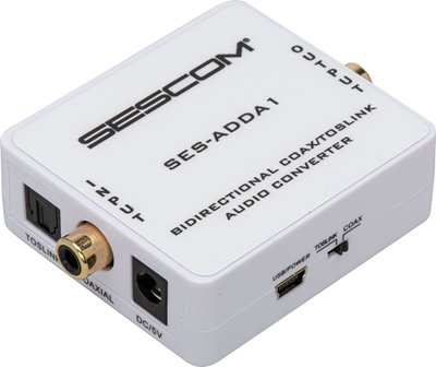 SES-ADDA1 Audio Converter - Bidirectional Coax/TOSLINK with Selectable Input