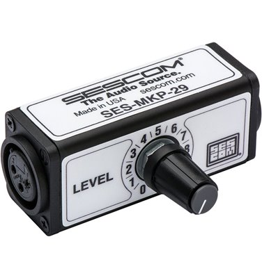 Sescom SES-MKP-29 XLR to XLR 1-Channel In-Line Balanced Audio Volume Control for Line Level Devices